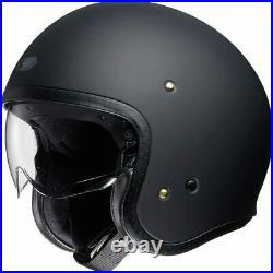 Shoei J-O Unisex Matte Black Open-Face Motorcycle Helmet w Visor Sz L Ships Free