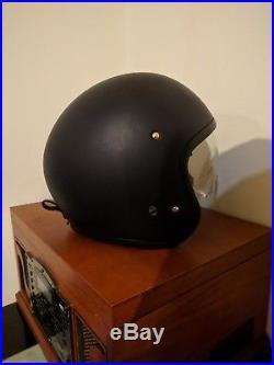Shoei denim J O open face motorcycle helmet with built in visor Size L