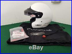 Size 59 Medium White BELL MAG-6 Sport Series Open Face Racing Helmet with Bag
