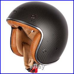 Spada Dark Star Open Face Motorcycle Motorbike Helmet Carbon / Tan