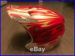 Troy Lee Designs TLD D2 Face Red Flame open face Helmet MTB XC DH Bike RARE