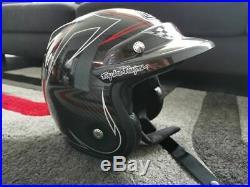 Troy Lee Designs TLD Open Face CARBON Pinstripe Helmet Bubble Visor size M