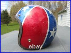VINTAGE 1960's FURY REBEL STARS AND BARS OPEN FACE MOTORCYCLE HELMET