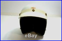 VINTAGE 1970'S BELL R-T MOTORCYCLE WHITE HALF HELMET With VISOR SIZE 7 OPEN FACE