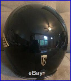 VINTAGE USED FULMER AF-40 OPEN FACE WING HELMET BLACK WithGOLD WING Size Large