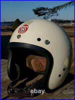 VTG 50s MCHAL SPEEDWAY MOTORCYCLE RACING CAR CRASH OPEN FACE JET TYPE HELMET MED