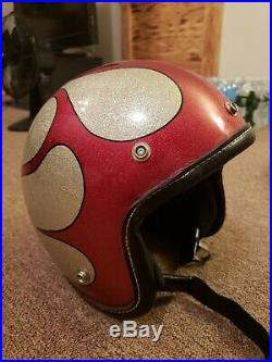 Vintage 1966 Motorcycle Helmet Hirotake Arai Silver Open Face with Sun Visor