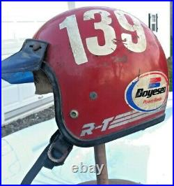 Vintage 1970's Red Bell RT R-T Open Faced Helmet Central NY Moto Champion
