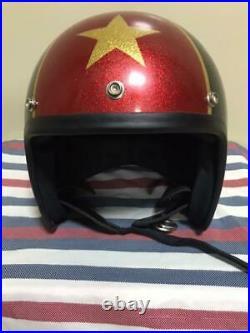Vintage 1970s SHOEI Open-Face Helmet Red/ Blue/ Star Size L NOS