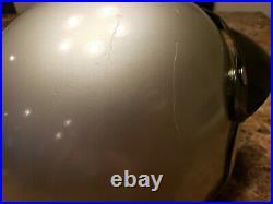 Vintage 1971 Arthur Fulmer Silver Open Face Large Motorcycle Helmet 3 Snap