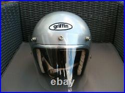 Vintage 1972 Griffin Silver Open Face Jet Helmet Size Large. Kangol Bell Era