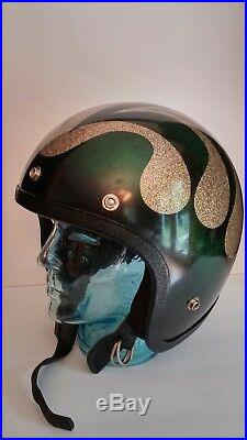 Vintage 60s/70s Retro Snowmobile/Motorcycle Open Face Helmet, Sparkle/Glitter