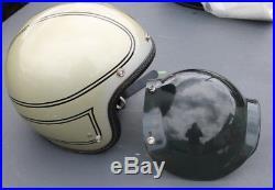 Vintage 70's HIROTAKE ARAI 1971 Arai SilveR Open Face Motorcycle Helmet Shield