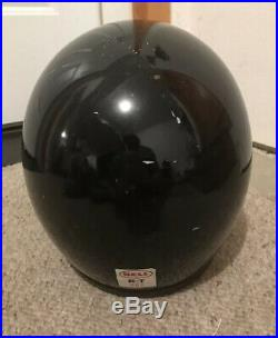 Vintage 70s Bell R-T DOT Black Open Face Motorcycle Helmet with Visor 58 cm 7 1/4