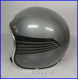 Vintage Arthur Fulmer AF40 Motorcycle Helmet Open Face XL Silver with Black Wings