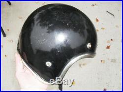 Vintage Arthur Fulmer AF40 motorcycle helmet Black Chrome Trim Open Face 1970s