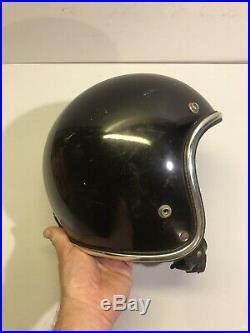 Vintage Arthur Fulmer AF40 motorcycle helmet Black Chrome Trim Open Face Sm-Med