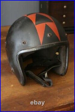Vintage Arthur Fulmer Motorcycle Helmet Open Face Racing easy rider chopper old