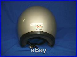 Vintage BELL Super Magnum Silver Motorcycle Helmet 3/4 Open Face 7-5/8
