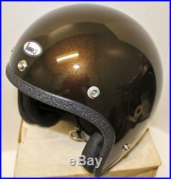 Vintage BUCO Motorcycle Helmet 70s RARE CANDY BROWN NIB Open Face XL Old School