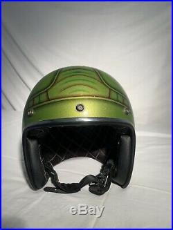 Vintage Bell Custom Metal Flake Painted Open Face Helmet signed skratch