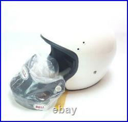 Vintage Bell Mag Open Face Motorcycle Helmet White & Visor Size Large 7 1/2