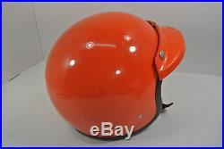 Vintage Bell Motorcycle Helmet Size 7 Super Magnum Orange Open Face 1970 Visor