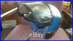 Vintage Bell Polaris Snowmobile Helmet With Sheild Open Face Blue Interior