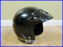 Vintage Bell R-T Motorcycle Helmet Black Size 7 3/8 Dot USA RT bobber Open Face