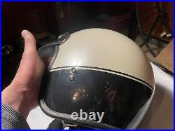 Vintage Bell Snell BLM Dot 2 Tone White Dark Blue Open Face Helmet Withvisor 7 3/8