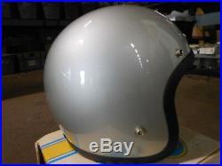 Vintage Buco Size Large Silver Open Face 5 Snap Blue Line GT Racing Helmet 1838