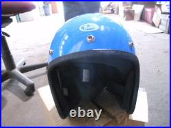 Vintage Buco Size Small Poly Blue Open Face 5 Snap Motorcycle Helmet 1830-1