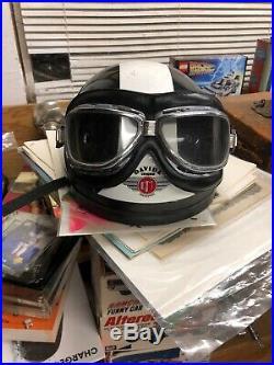 Vintage Davida Classic Open Face Helmet W Climax Goggles Small Pudding Bowl