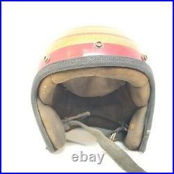 Vintage Monarch Red Gold Metal Flake Motorcycle Helmet Open Face 1970's