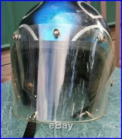 Vintage Motorcycle Helmet Metal Flake Silver & Blue & Black Open Face Shield 70s
