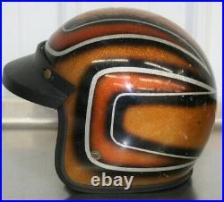 Vintage Motorcycle Helmet Metal Flake Silver Orange Black Open Face Visor 70s