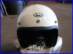 Vintage NOS Buco Fiberglass Size Small White Open Face 5 Snap Helmet 1755-1