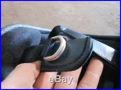 Vintage NOS Buco Size M Black with Design Fiberglass Open Face 5 Snap Helmet 1782