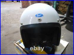 Vintage NOS Buco Size Medium White Open Face 5 Snap Racing Helmet 1825-2