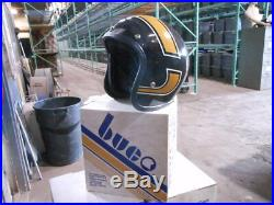 Vintage NOS Buco Size XL Brown with Design Open Face 5 Snap Racing Helmet 1753-4