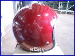 Vintage NOS Buco Size XL Fiberglass Burgundy Open Face 5 Snap Racing Helmet