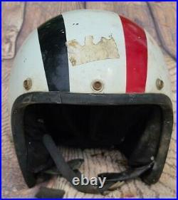 Vintage RARE MERC Mercury Snowmobile Open Face White Black Red Helmet Size XL