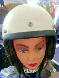Vintage USA Bell Motorcycle Racing Helmet 1960s Open Face size 7 1/4 RARE