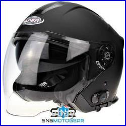 Viper RSV10 BL+ 3.0 Bluetooth Open Face Motorcycle Motorbike Helmet Matt Black