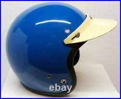 Vtg 1970s BELL R-T BLUE HELMET SIZE 7¼-58 CENTIMETRES with WHITE VISOR OPEN FACE