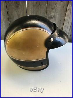 Vtg Bell Motorcycle Helmet Open Face Visor Painted Gold Chopper Bobber Cafe Easy