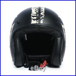 West Coast Choppers Gangscript Open Face Helmet Black & Ivory Brand New